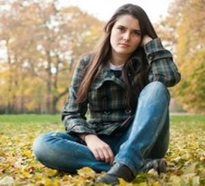 girl sat in park